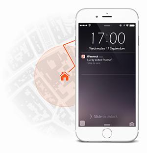 De kaart- kompas en radar functies op uw mobiel loodsen u naar uw hond